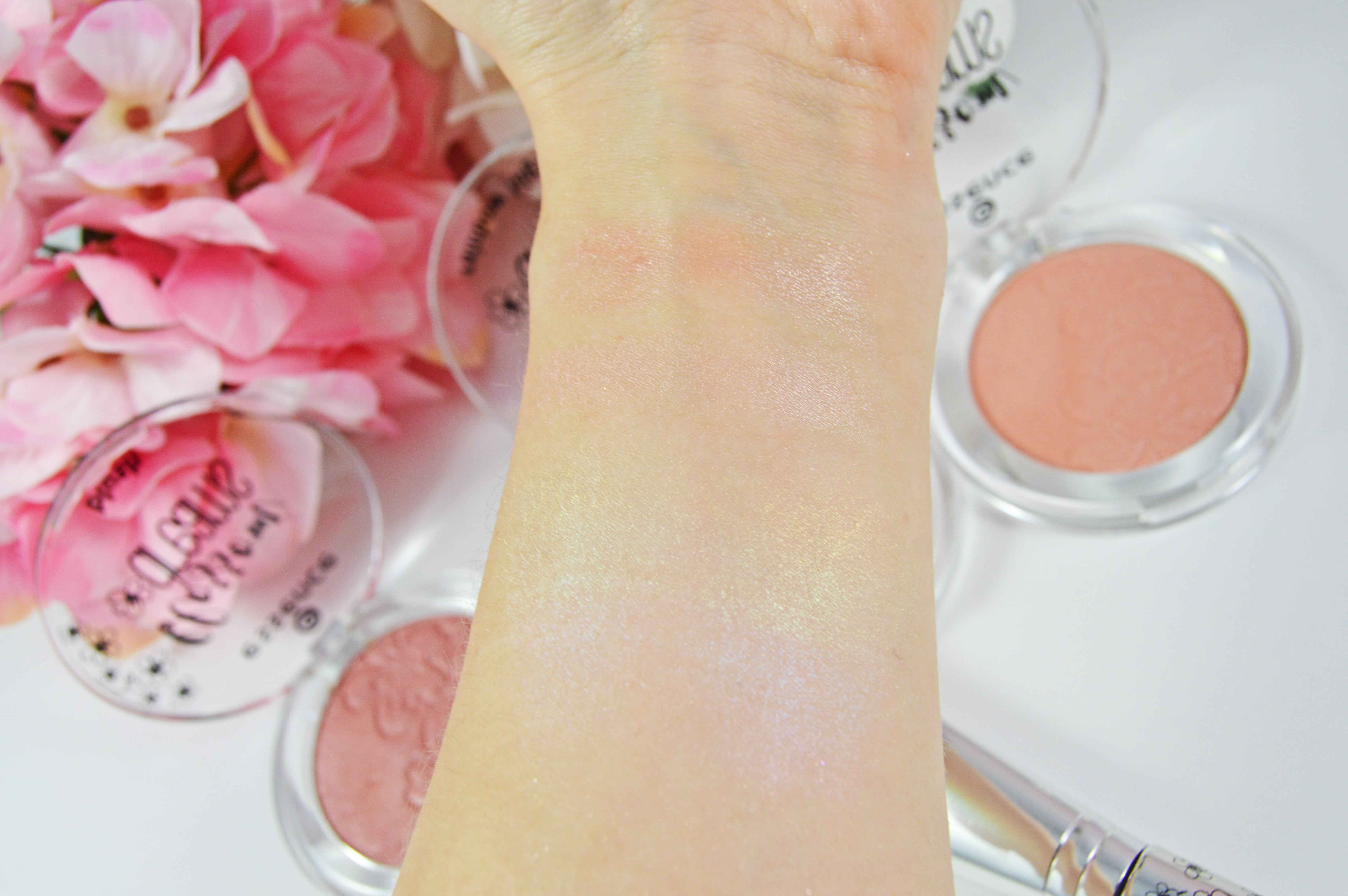 Essence blossom dreams swatches highlighter blushes