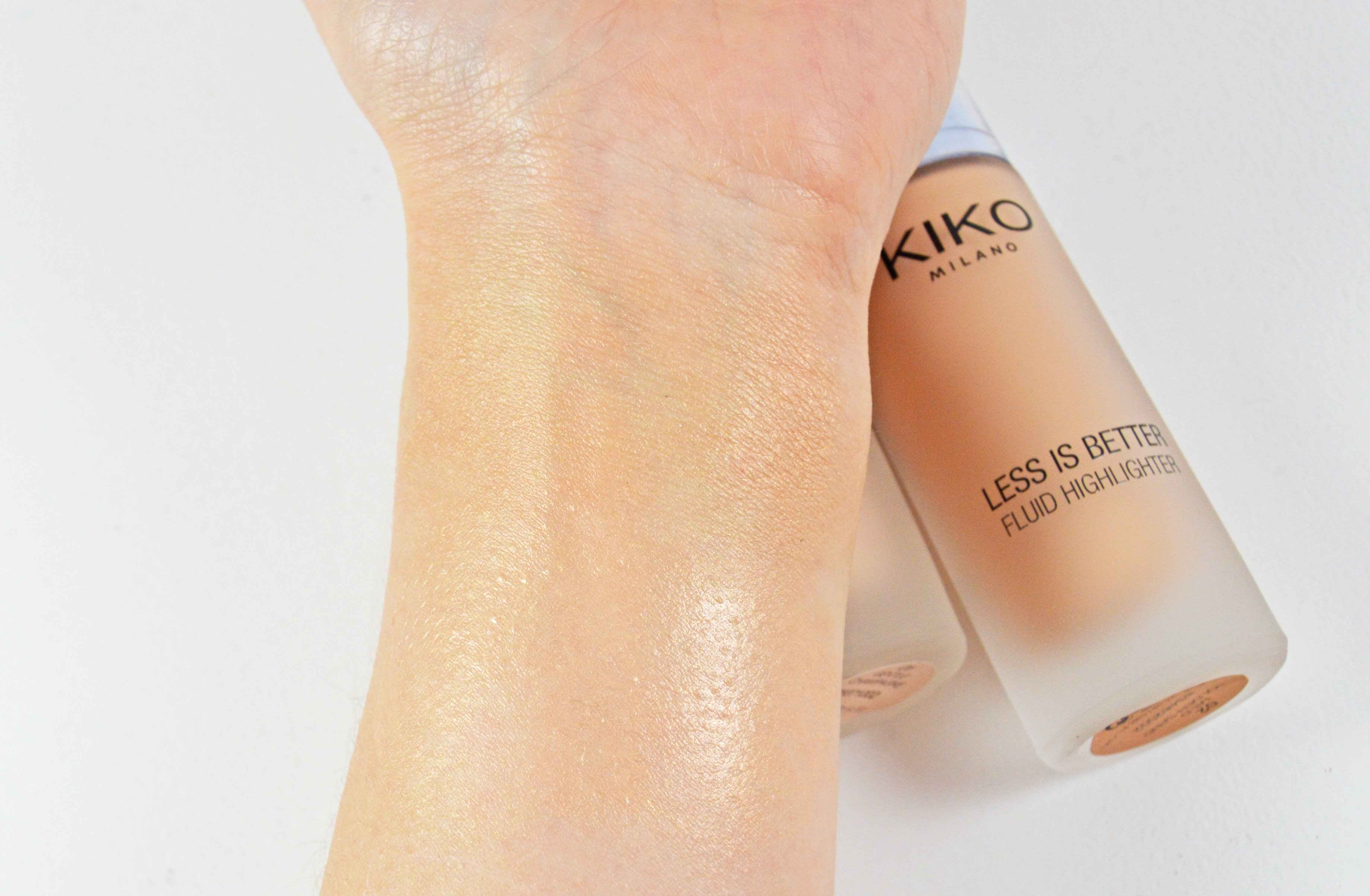 Kiko Less is better Superduper fluid highlighter swatches