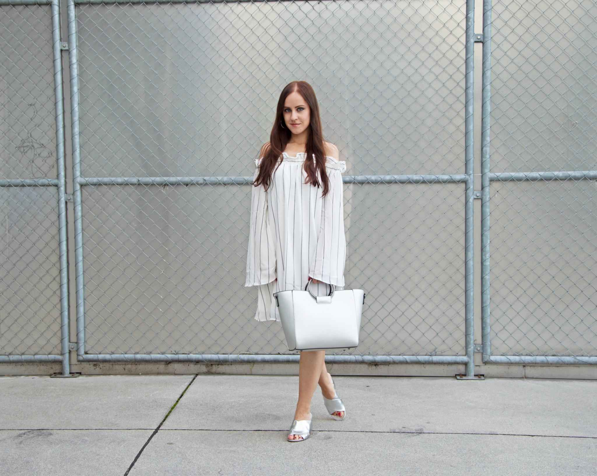 Off-Shoulder Dress and Mules