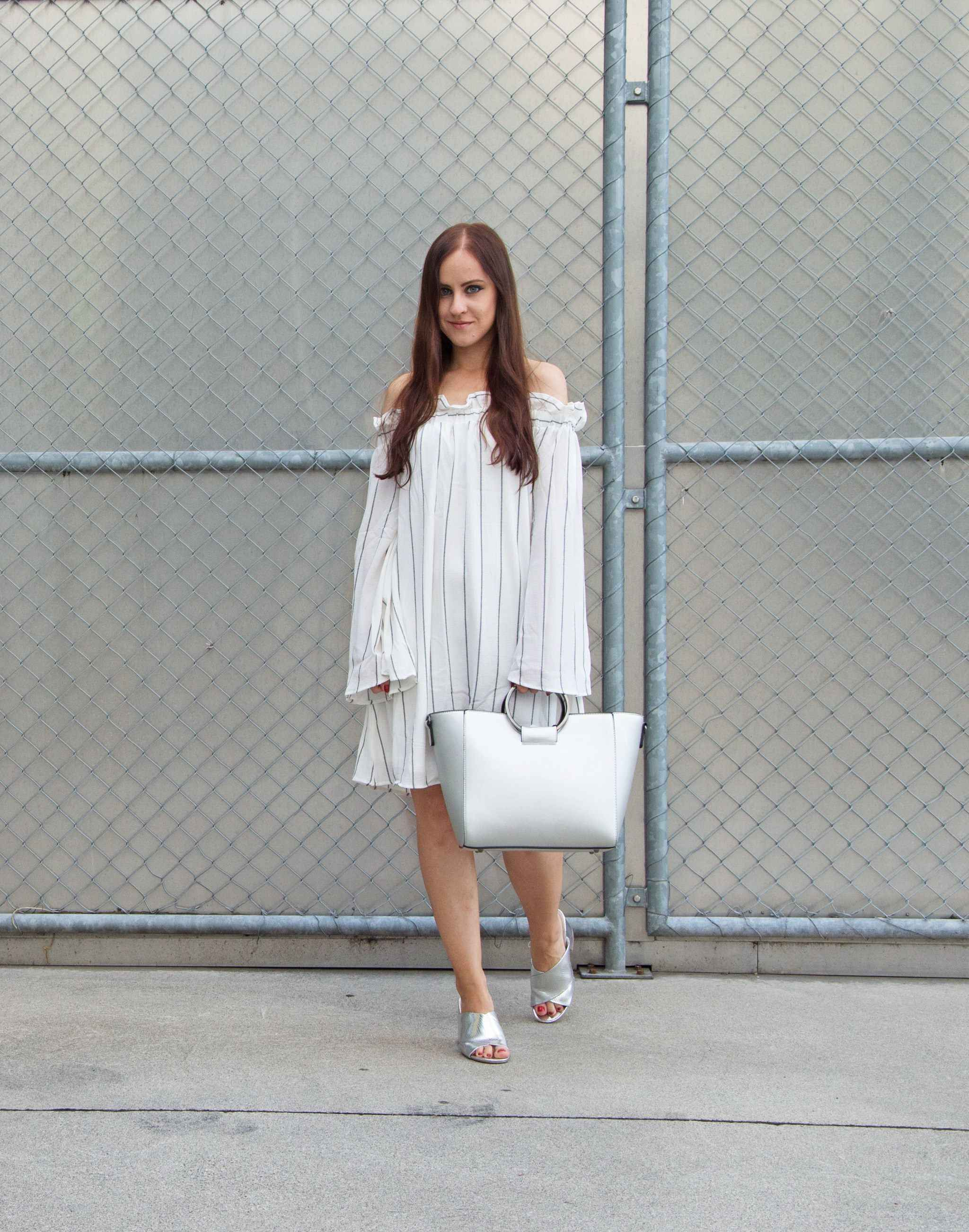 Off-Shoulder Dress and Mules, Fashion, Outfit, Look, Fashionblogger, OOTD, Offshoulderdress, mules, metallic