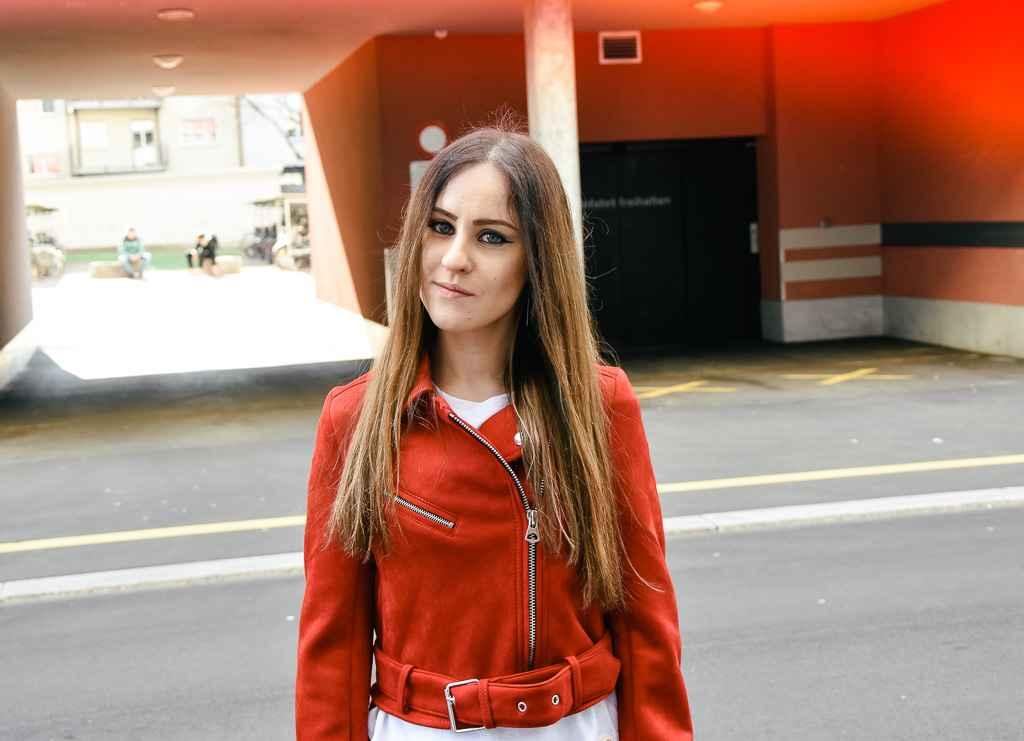 Bikerlook red bikerjacket pants leather
