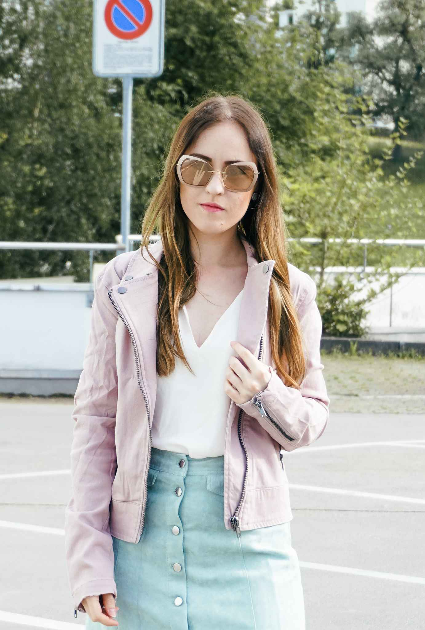 Look Fashion Blogger Sunglasses Silhouette skirt shirt H&M Shoes